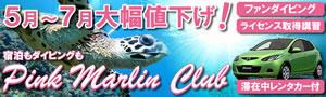 西海岸の美しい海でダイビング♪ピンクマーリンクラブ指定プランがダイビング&レンタカー付きでこの価格!!